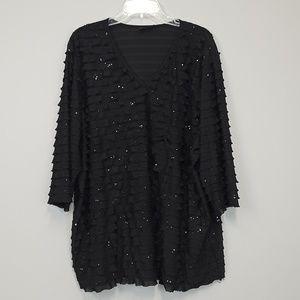 Maggie Barnes black ruffled plus size top